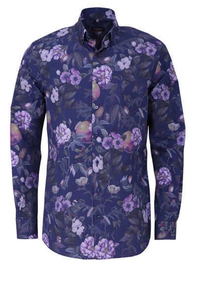 ETERNA Modern Fit Hemd extra langer Arm Muster dunkelblau - Hemden Meister