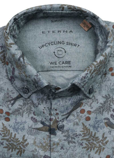 ETERNA Slim Fit Upcycling Shirt Button Down Kragen Stretch Muster grün