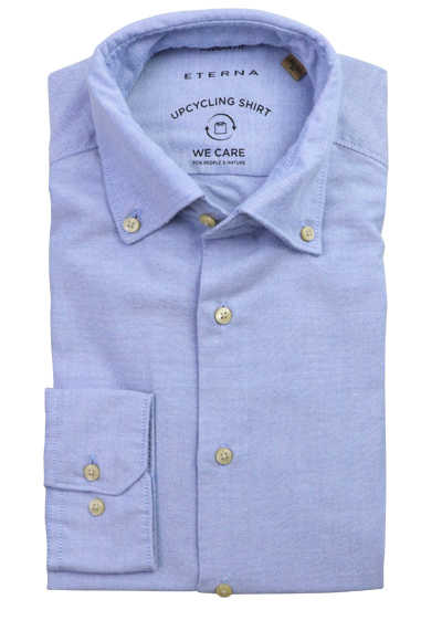ETERNA Modern Fit Upcycling Shirt Button Down Kragen Stretch hellblau preisreduziert