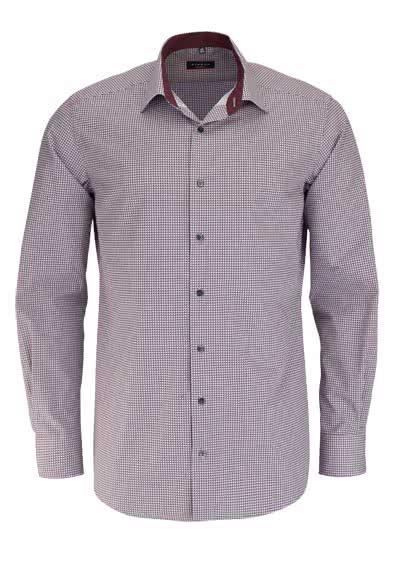 ETERNA Modern Fit Hemd extra langer Arm Patch Muster dunkelrot - Hemden Meister