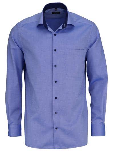 ETERNA Comfort Fit Hemd extra langer Arm Struktur mittelblau - Hemden Meister