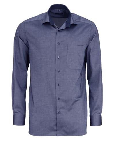 ETERNA Comfort Fit extra langer Arm Hemd New Kent Kragen Struktur navy - Hemden Meister