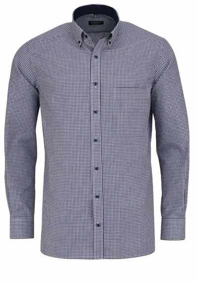 ETERNA Comfort Fit Hemd extra kurzer Arm Button Down Kragen Karo dunkelblau - Hemden Meister