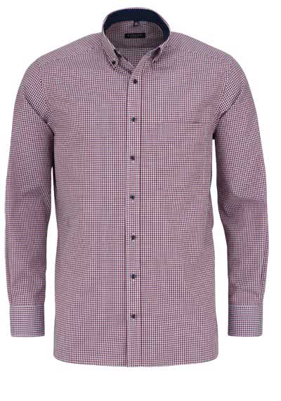 ETERNA Comfort Fit Hemd extra kurzer Arm Button Down Kragen Karo rot - Hemden Meister