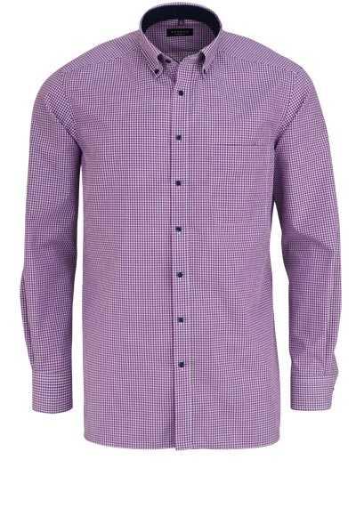 ETERNA Comfort Fit Hemd extra langer Arm Button Down Kragen Karo lila - Hemden Meister