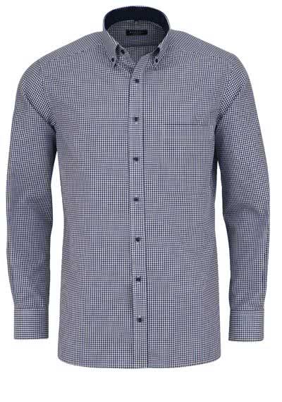 ETERNA Comfort Fit Hemd extra langer Arm Karo dunkelblau - Hemden Meister