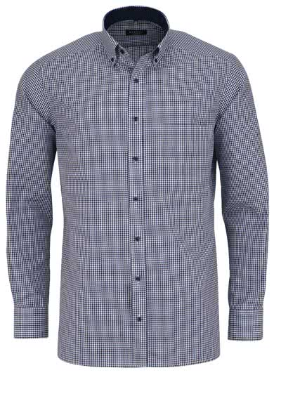 ETERNA Comfort Fit Hemd extra langer Arm Button Down Kragen Karo dunkelblau - Hemden Meister