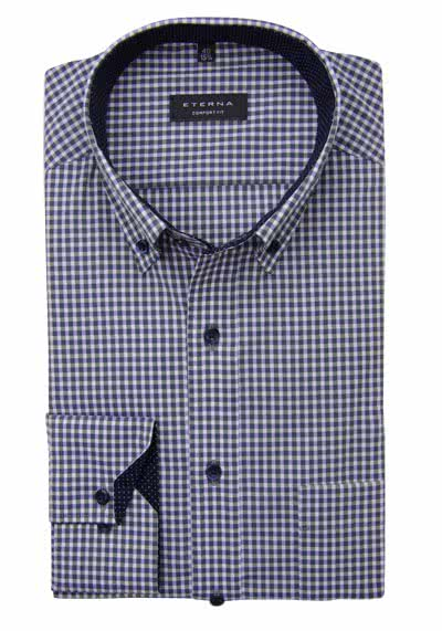 ETERNA Comfort Fit Hemd super langer Arm Button Down Kragen Karo grün preisreduziert