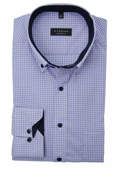 ETERNA Comfort Fit Hemd super langer Arm Button Down Kragen Karo hellblau preisreduziert