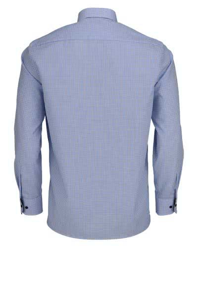 ETERNA Comfort Fit Hemd super langer Arm Button Down Kragen Karo hellblau