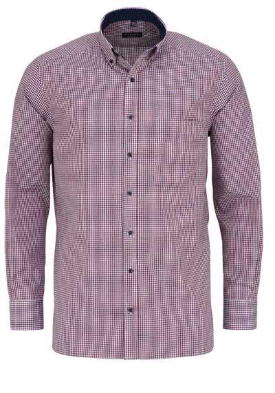 ETERNA Comfort Fit Hemd super langer Arm Button Down Kragen Karo rot - Hemden Meister