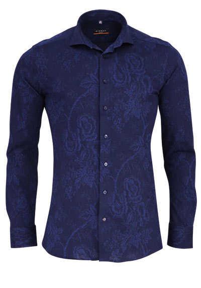 ETERNA Slim Fit Hemd Langarm Haifischkragen Jersey Muster nachtblau - Hemden Meister
