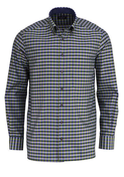 ETERNA Comfort Fit Hemd Langarm Button Down Kragen Karo grün - Hemden Meister