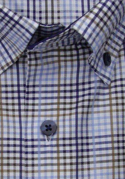 ETERNA Comfort Fit Hemd Langarm Button Down Kragen Karo blau