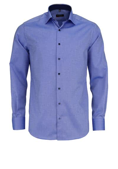 ETERNA Modern Fit Hemd extra langer Arm Struktur mittelblau - Hemden Meister