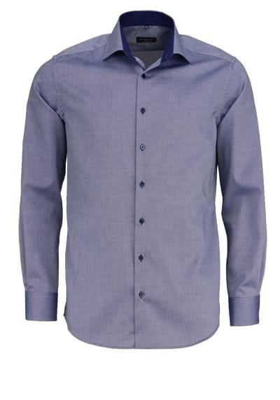 ETERNA Modern Fit Hemd extra langer Arm Struktur rauchblau - Hemden Meister
