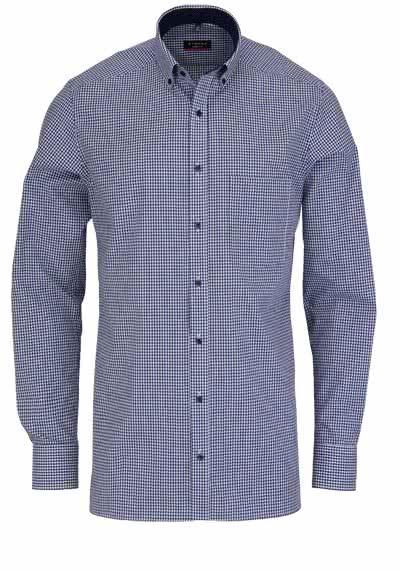 ETERNA Modern Fit Hemd exta kurzer Arm mit Besatz Karo dunkelblau - Hemden Meister
