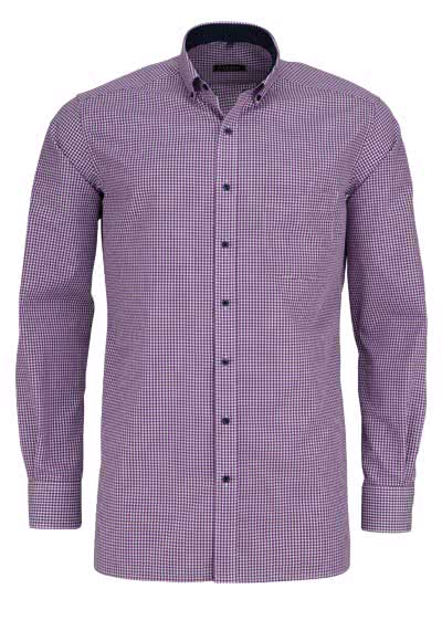 ETERNA Modern Fit Hemd exta langer Arm mit Besatz Karo lila - Hemden Meister