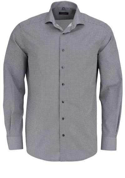 ETERNA Modern Fit Hemd extra langer Arm Haifischkragen Muster grau - Hemden Meister