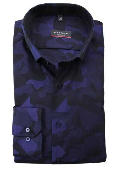 ETERNA Modern Fit Hemd Langarm Button Down Kragen Muster blau