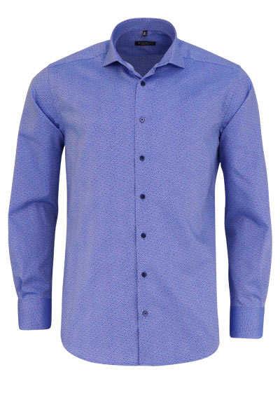 ETERNA Modern Fit Hemd Langarm Haifischkragen Muster blau - Hemden Meister