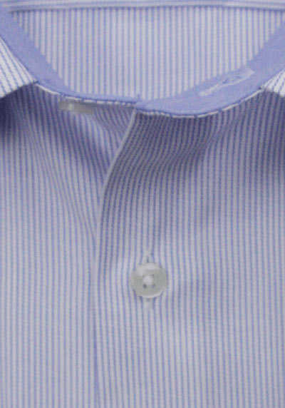 ETERNA Modern Fit Hemd Langarm Under-Button-Down Kragen Streifen blau