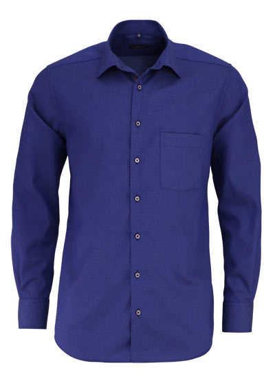 ETERNA Modern Fit Hemd extra langer Arm New Kent Kragen Struktur blau - Hemden Meister