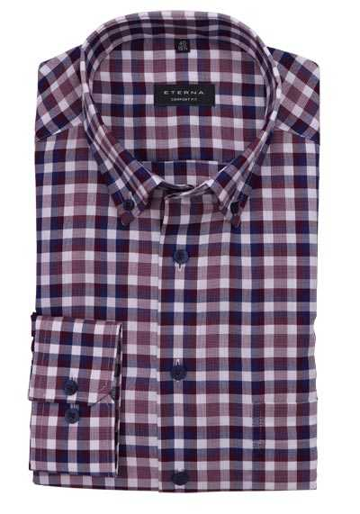 ETERNA Comfort Fit Hemd Langarm Button Down Kragen Karo rot