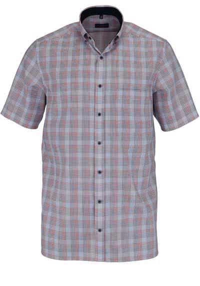 ETERNA Modern Fit Hemd Halbarm Button Down Kragen Karo nachtblau - Hemden Meister