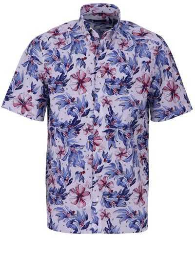 ETERNA Comfort Fit Hemd Halbarm florales Muster weiß - Hemden Meister