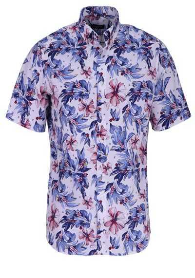 ETERNA Modern Fit Hemd Halbarm florales Muster weiß - Hemden Meister