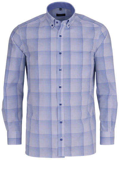 ETERNA Comfort Fit Hemd super langer Arm Button Down Kragen Karo hellblau - Hemden Meister