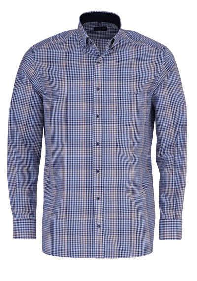 ETERNA Comfort Fit Hemd super langer Arm Button Down Kragen Karo dunkelblau - Hemden Meister