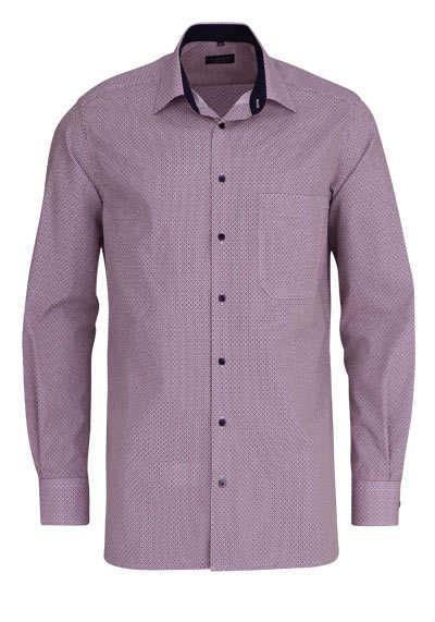 ETERNA Comfort Fit Hemd extra langer Arm Kragen mit Besatz Muster blau - Hemden Meister