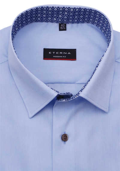 ETERNA Modern Fit Hemd super langer Arm New Kent Kragen hellblau