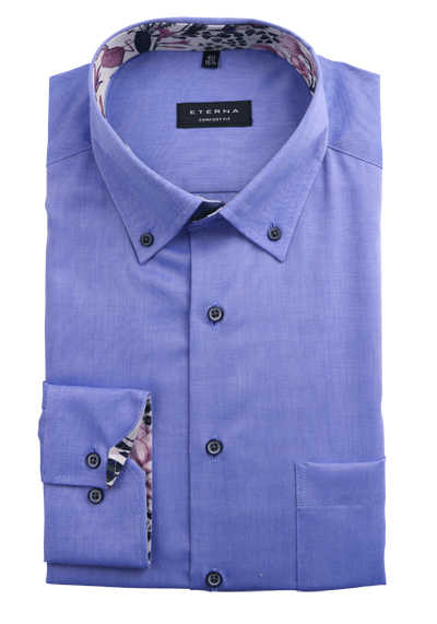 ETERNA Comfort Fit Herrenhemd Langarm Button Down Kragen Patch dunkelblau