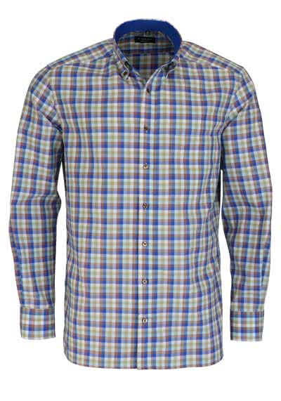 ETERNA Comfort Fit Hemd Langarm Button Down Kragen mit Patch Karo blau
