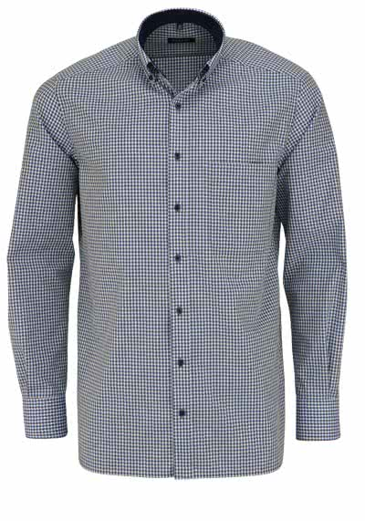 ETERNA Comfort Fit Hemd extra kurzer Arm Button Down Kragen Karo grün