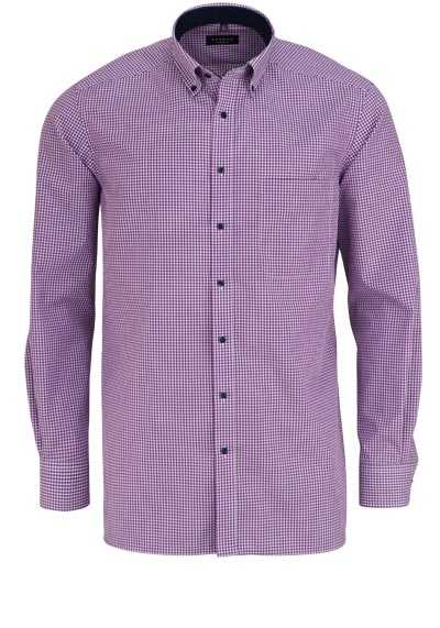 ETERNA Comfort Fit Hemd extra kurzer Arm Button Down Kragen Karo lila