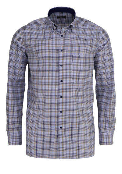ETERNA Comfort Fit Hemd extra langer Arm Button Down Kragen Karo blau