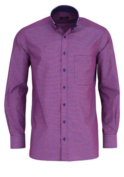 ETERNA Comfort Fit Hemd extra langer Arm Button Down Kragen Karo rot