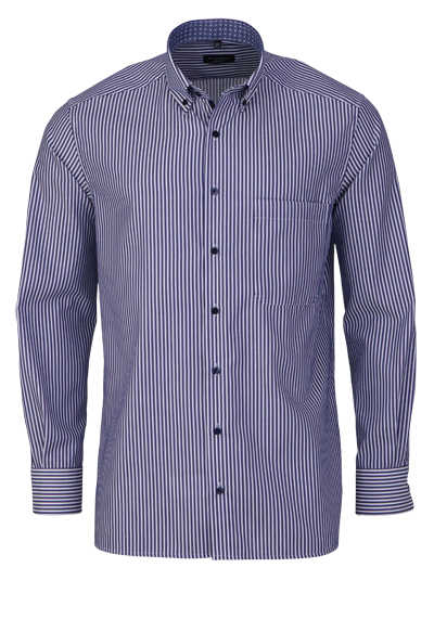 ETERNA Comfort Fit Hemd extra langer Arm Button Down Kragen blau