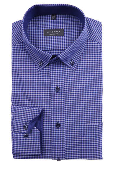 ETERNA Comfort Fit Hemd super langer Arm Button Down Kragen Besatz Karo blau