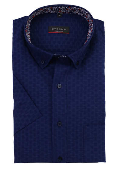 ETERNA Modern Fit Hemd Halbarm Button Down Kragen Struktur navy