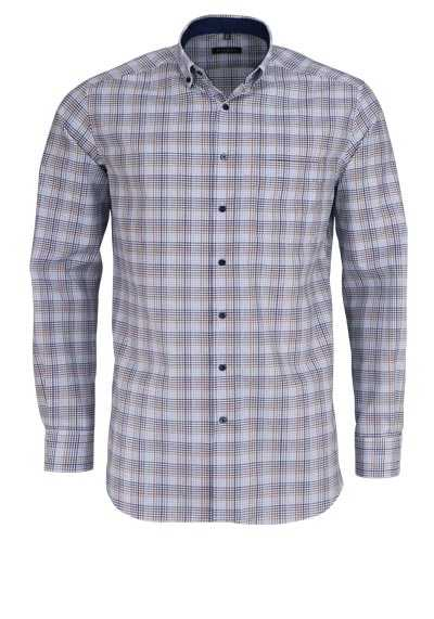 ETERNA Modern Fit Hemd Langarm Button Down Kragen Karo blau