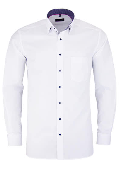 ETERNA Modern Fit Hemd Langarm Under Button Down Kragen Chambray weiß