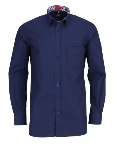 ETERNA Modern Fit Hemd Langarm Under Button Down Kragen navy