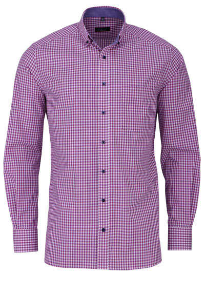 ETERNA Modern Fit Hemd super langer Arm Button Down Kragen Karo rot