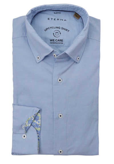 ETERNA Slim Fit Hemd Langarm Button Down Kragen hellblau