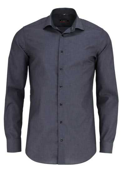 ETERNA Slim Fit Hemd Langarm New Kent Kragen Stretch dunkelgrau